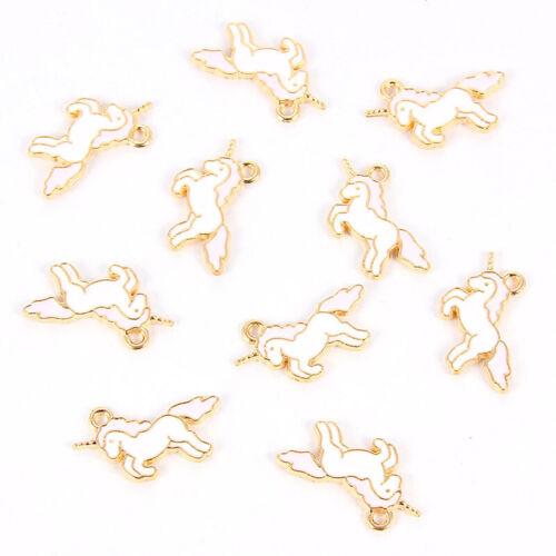 10X Mixed Color Enamel Unicorn Pony Alloy Charm Pendant DIY Jewelry Craft Making