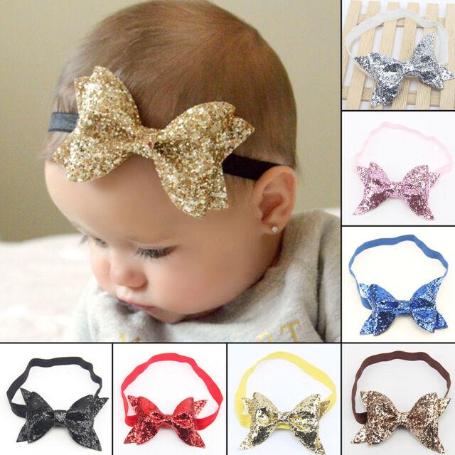Baby Sequin Headband Headwear Girls Bow Knot Headwrap Kids Hairband Hair  Bands d5576c5f3c65