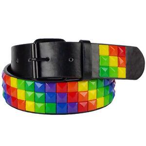 01b89c692b17cd Das Bild wird geladen Pyramiden-Nietenguertel -Rregenbogen-rainbow-4-0-cm-breit-
