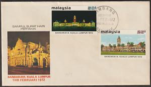 (F48)MALAYSIA 1972 CITY STATUS FOR KL FDC LIMBANG SARAWAK FDI CDS