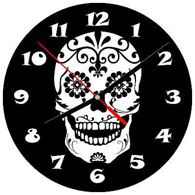 """Zonnig 8"""" Wall Clock Sugar Skull #sn11 Dia De Los Muertos Day Of The Dead Halloween"""
