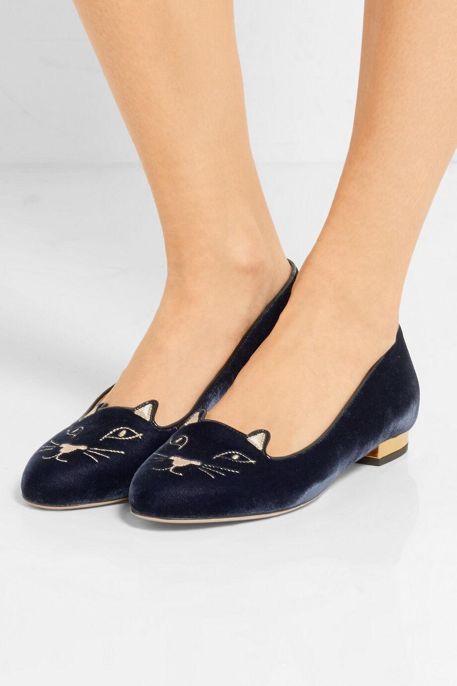 CHARLOTTE OLYMPIA Kitty EmbroideROT Velvet Slippers Flat Navy Schuhe 5.5 Navy Flat Blau 35.5 76ee5a