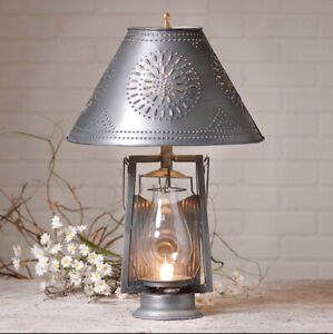 Details About Farmer S Lamp With Punched Tin Shade In Antique Primitive Country Lighting