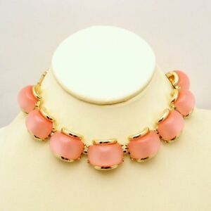 Vintage-Lucite-Necklace-Pink-Moonglow-Stones-Mid-Century-Choker-Retro-Chunky