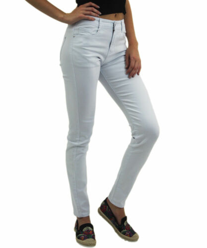 Da Donna Jeggings Taglia 8-16 Donna Fit Skinny Colorati Elastico Pantaloni Jeans Bianco