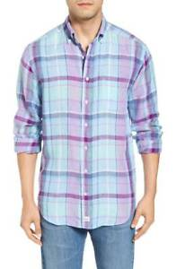 Vineyard-Vines-Men-039-s-Shirt-Murray-Linen-Plaid-Blue-Whale-Logo-Classic-Fit-Sz-XS
