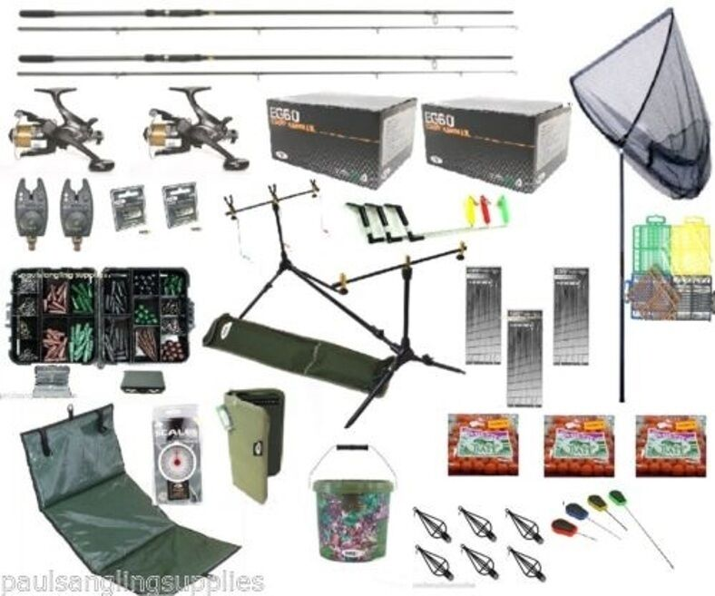 Supreme Autop Fishing Set Kit Rods Reeks Alarms Bait Tackle Tools Mat Hooks Boils