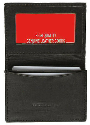 Black Genuine Leather Expandable Credit Card ID Business Card Holder Wallet Case
