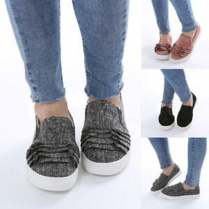 Fashion-Women-Outdoor-Shoes-Lace-Round-Toe-Flat-Heel-Flock-Girls-Casual-Shoes