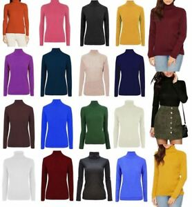 5ed0d7d902d Details about Ladies High Roll Polo Neck Knitted Ribbed Jumper Womens Long  Sleeve Sweater Top