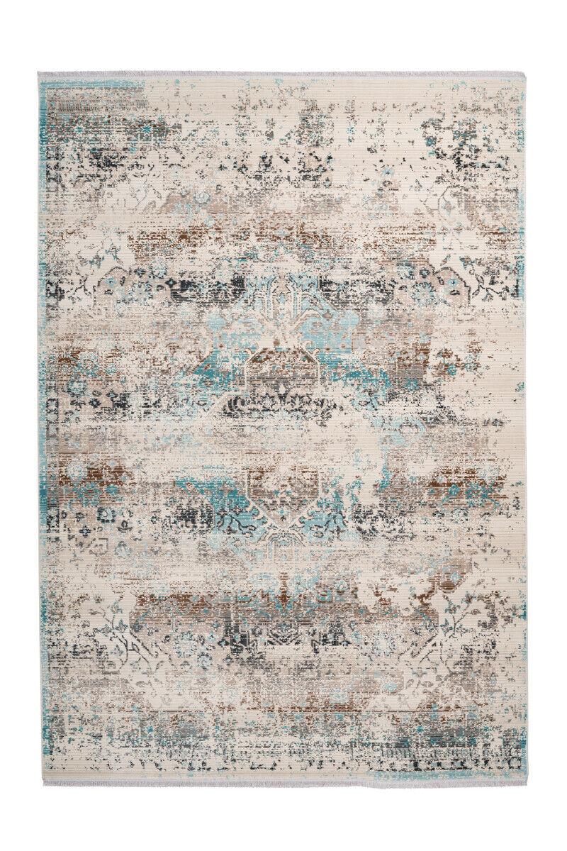 Vintage Teppich Maya Azteken Design Ornamente Muster Used Creme Blau Beige Braun