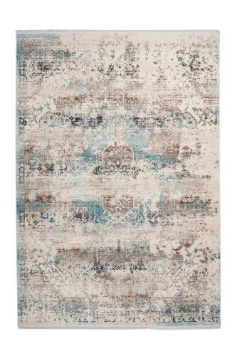 Tapis Vintage Aztèque Ethno Franges Tapis Salon Beige Bleu 80x150cm
