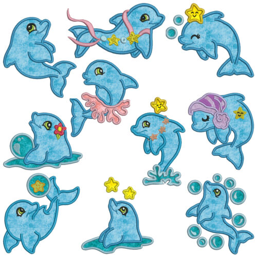 ** DOLPHINS ** Machine Applique Embroidery  Patterns ** 10 Designs