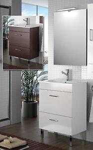 Arredo bagno mobile legno 60 specchiera lavabo ceramica for Lampada arredo