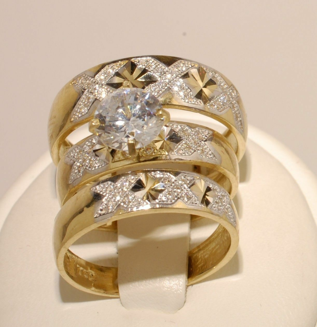 2Ct Round Cut Diamond 14K Yellow gold Over His-Her Trio Wedding Ring Set