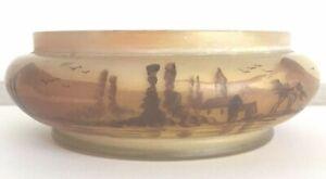 Schale Vase Antike Handbemalte Landschaft Motiv Jugendstil wohl Holland Beige