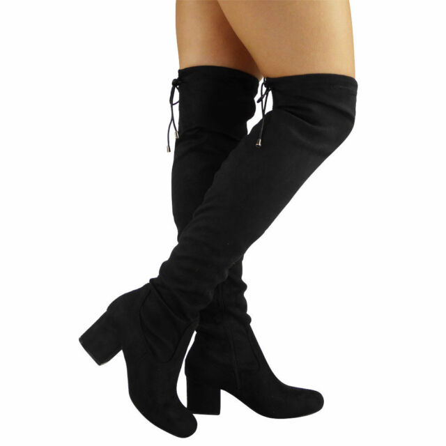 eba711a55f1 Womens Ladies Thigh High Over The Knee BOOTS Lace up Long Low Heel ...