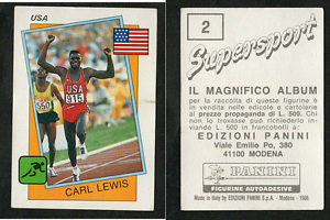Carl-Lewis-USA-Panini-Athletics-CARD-1986-n-2-MINT-SUPERSPORT