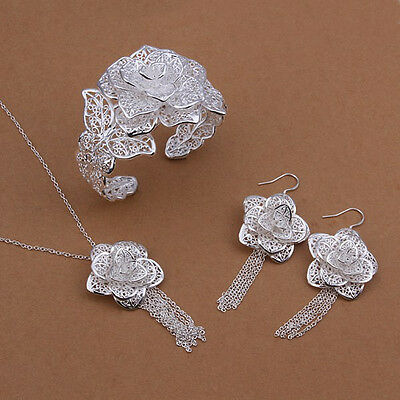 NEW Stunning Sterling Solid Silver Earrings&Bangle&Necklace Sets S446