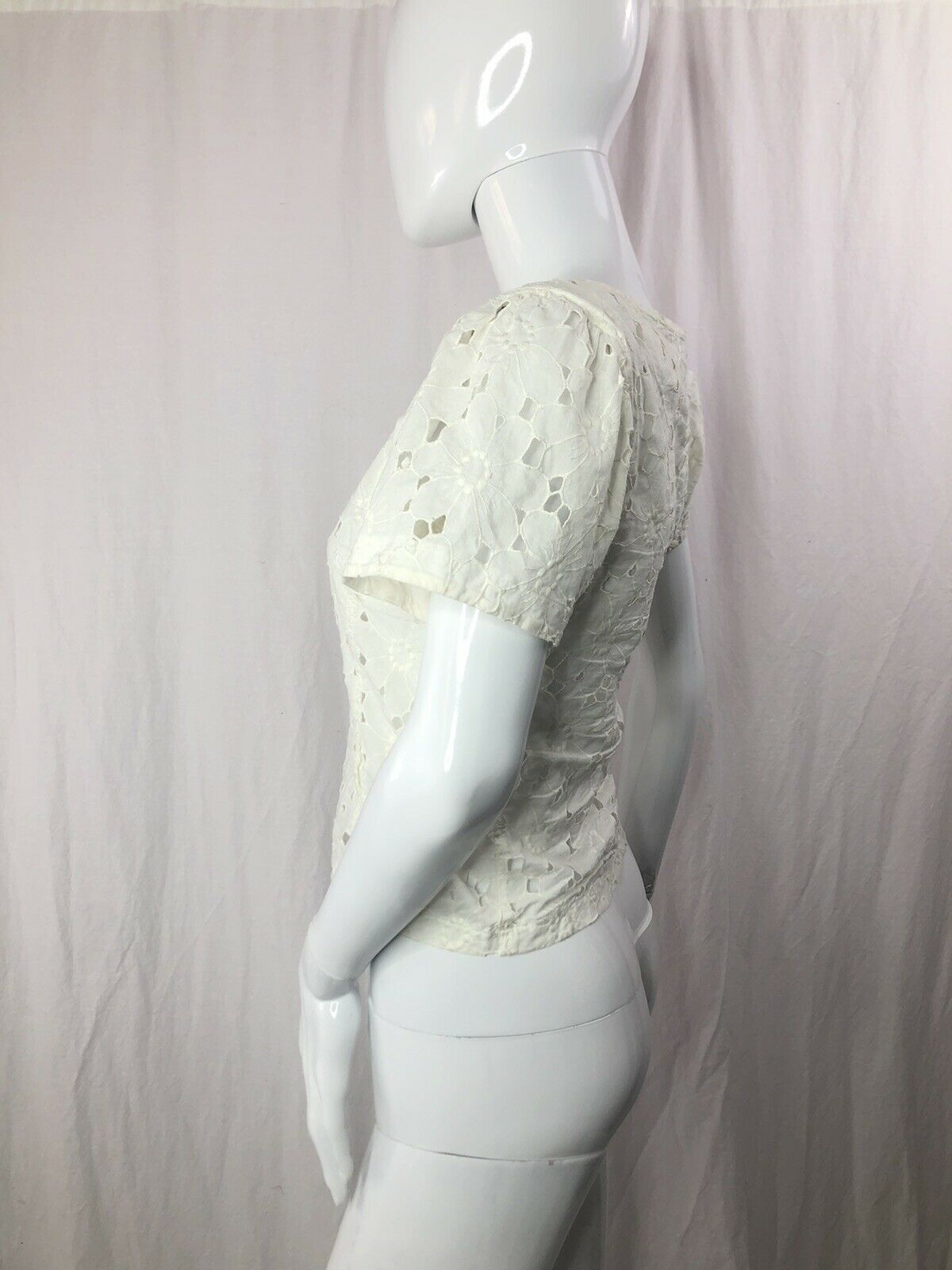 Vintage Kenzo 70s  Sheer Floral Lace Top XS - image 3
