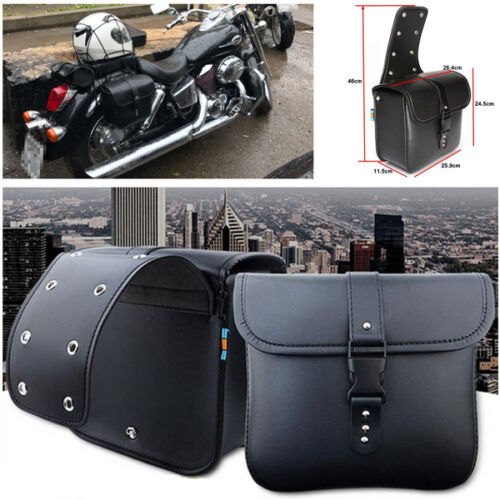 2X Waterproof Motorcycle PU Leather Saddle Bags Storage Trims Pouch Left /& Right