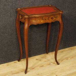 Tavolo In Legno Intarsiato.Dettagli Su Tavolino Legno Intarsiato Francese Mobile Tavolo Comodino Cassetti Stile Antico