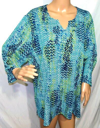 N Touch Women Plus Size 1x 2x 3x Teal Green Striped Tunic Top Blouse Shirt