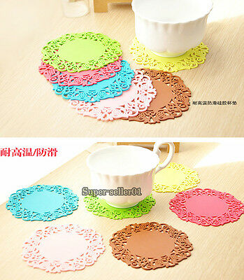 """2/10Pcs Colorful 4""""Inch Flower Silicone Coasters Insulation Cushion Placemat Pad"""