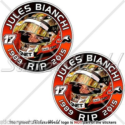 "Sticker Adesivo Aufkleber Autocollant x2 JULES BIANCHI #17 TOUS AVEC 75mm 3/"""