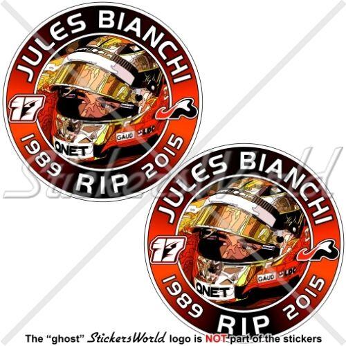 JULES BIANCHI RIP Formula 1 F1 75mm(3) Stickers Adesivi in Vinile per Auto x2