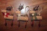 Rustic Deer Head Cork Reindeer Hanging Christmas Tree Ornament Set 3 Burlap