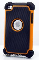 For Ipod Touch 4th 4 4g Itouch Case Triple Layer Black & Orange Soft Hard \