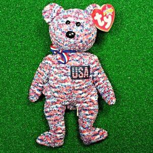 d7ef6e01868 NEW Ty Beanie Baby USA The Patriotic Bear Retired God Bless America ...