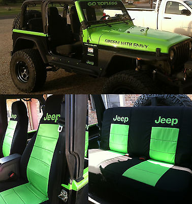 13-17 Jeep Wrangler JK  Front + 60/40 Rear Seat Covers. Black Lime Green  DESIGN