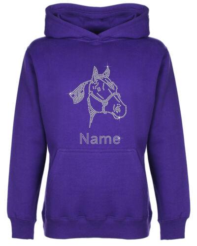 Personalizzato Cavallo faccia di Strass//Diamante Impreziosito per Bambini Felpa Con Cappuccio Unisex Regalo