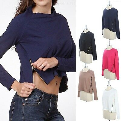 Sexy Cropped Side Zippered Bottom Detail Long Sleeve Knit Sweater Shirt S M L