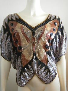 Vintage-Silk-Rayon-Butterfly-Sequin-Disco-Top-Black-Gold-Rust-Beaded-Blouse-80-039-s