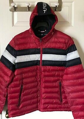 $195 NWT Mens Tommy Hilfiger Logo Packable Quilted Hooded Jacket Puffer Coat Red