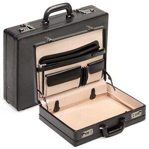 Herren-accessoires Genial Aktenkoffer Koffer Attache-koffer Echt Leder Schwarz Mit Dehnfalte Zahlenschloss Reinigen Der MundhöHle. Taschen