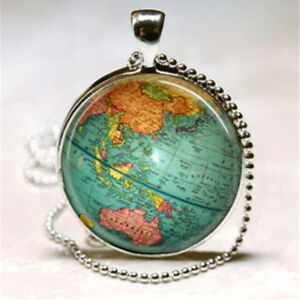 Vintage globe necklace planet earth world map art pendant with ball image is loading vintage globe necklace planet earth world map art gumiabroncs Image collections