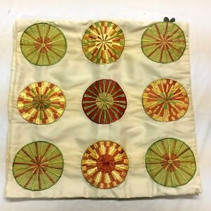 2-Matching-PIER-ONE-Pillow-Shams-Contemporary-Embroidered-Circles-17-in-sq-zip