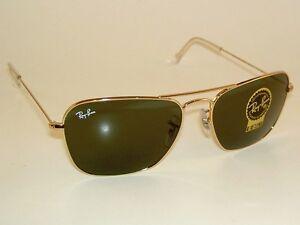 c97c63b607 New RAY BAN Sunglasses Gold Frame CARAVAN RB 3136 001 G-15 Glass ...