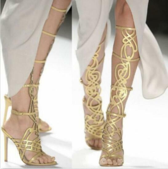Fashion Fashion Fashion Donna  Sheepskin Leather Gladiator Knee High Thong Party Pumps Sandals 717f1e