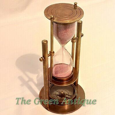Antique Nautical Brass Revolving Sand Timer Base Compass Gift Ebay