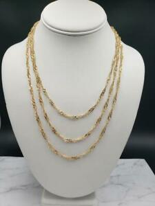Technibond-14K-Yellow-Gold-over-Sterling-Silver-Singapore-Chain-Necklace