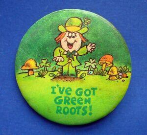 Hallmark-BUTTON-PIN-St-Patrick-Vintage-LEPRECHAUN-Green-Roots-IRISH-Holiday