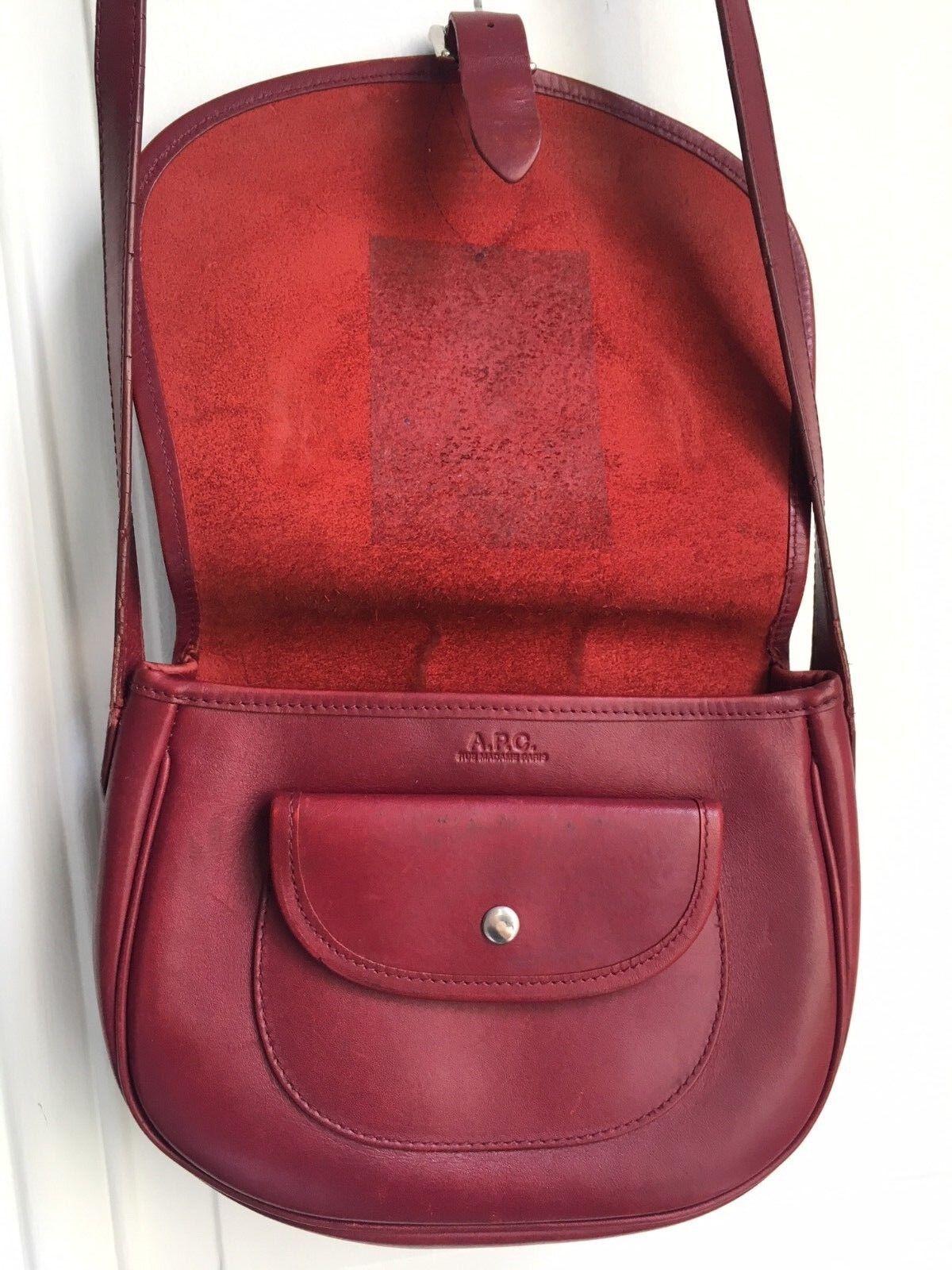 A.P.C Burgundy Red Leather Shoulder Bag - Half mo… - image 2