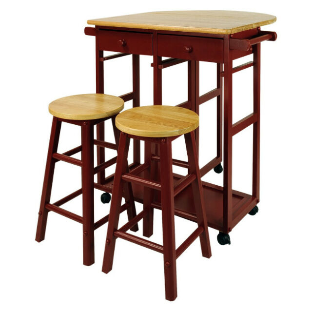 Pub Set Kitchen Portable Breakfast Drop Leaf Table Rolling Compact Small Spaces