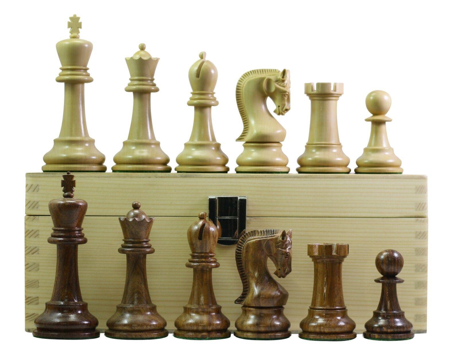 Leningrade Staunton 4  Chess Set in oroen rosadodo & Box Wood with Storage Box