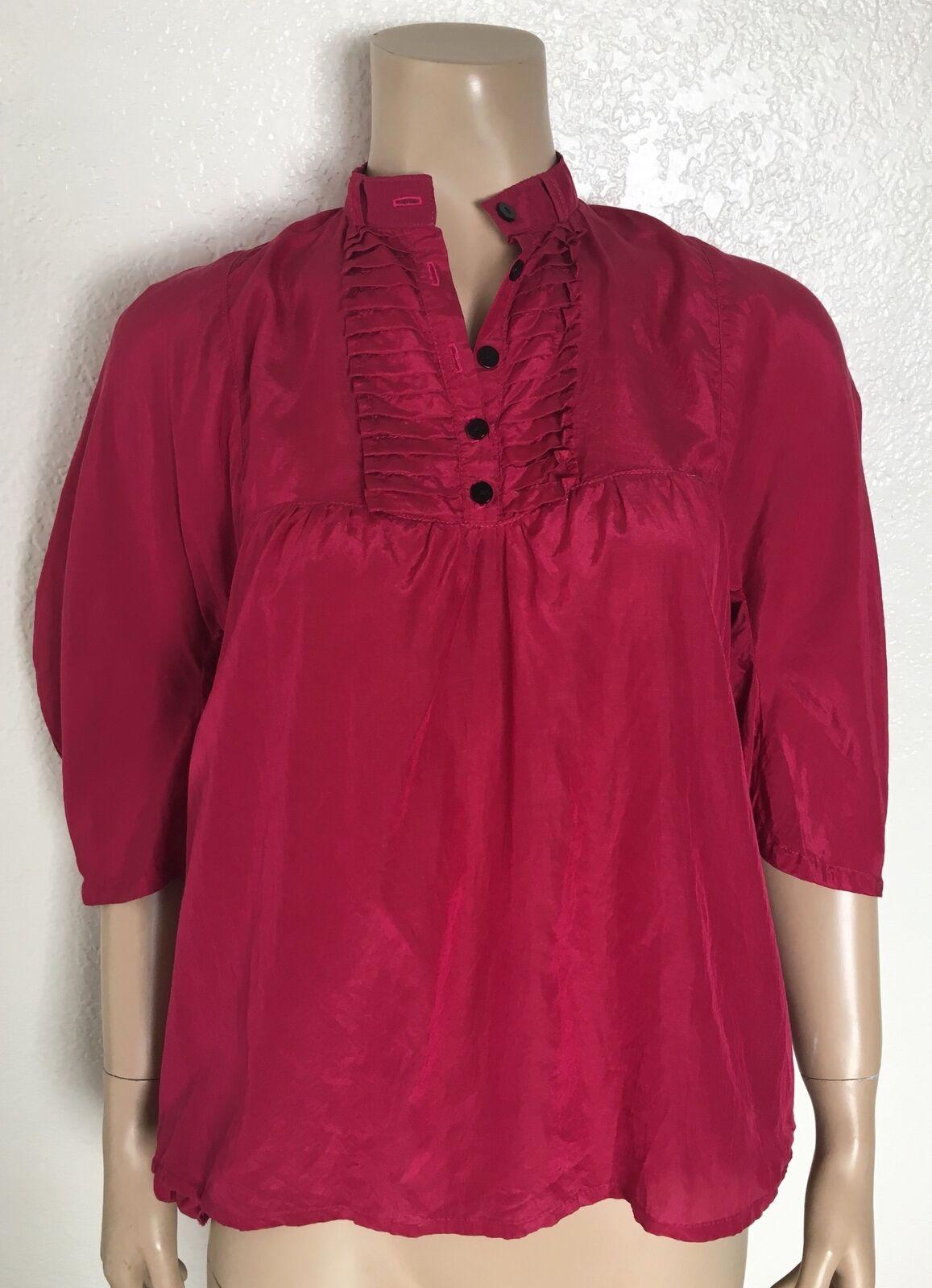 JUDI pinkN New York Designer Bright Pink Peasant Blouse Top, Size Small S